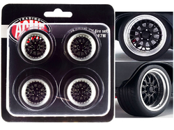 """Street Fighter Pro Touring Wheel and Tire Set of 4 pieces from """"1970 Chevrolet Chevelle 454 SS Street Fighter G-Force"""" 1/18 by ACME"""