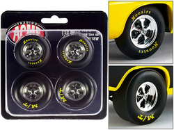 """Drag Wheel and Tire Set of 4 pieces from """"1972 Plymouth HEMI Drag Barracuda"""" 1/18 by ACME"""