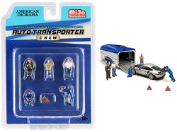 """""""Auto Transporter Crew"""" Diecast Set of 7 pieces (5 Figurines and 2 Warning Triangles) for 1/64 Scale Models by American Diorama"""