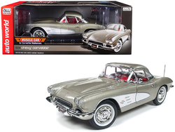 "1961 Chevrolet Corvette Hard Top Fawn Beige ""Muscle Car & Corvette Nationals"" (MCACN) Limited Edition to 1002 pieces Worldwide 1/18 Diecast Model Car by Autoworld"