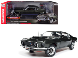 """1969 Ford Mustang Boss 429 Black Jade """"Muscle Car & Corvette Nationals"""" (MCACN) Limited Edition to 1002 pieces Worldwide 1/18 Diecast Model Car by Autoworld"""