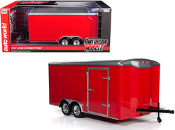Four Wheel Enclosed Trailer Red with Silver Top for 1/18 Scale Model Cars by Autoworld