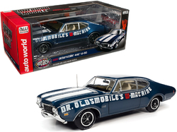 """1969 Oldsmobile 442 W-30 Coupe """"Dr. Oldsmobile's W-Machine"""" Trophy Blue Metallic with White Stripes """"Muscle Car & Corvette Nationals"""" (MCACN) 1/18 Diecast Model Car by Autoworld"""