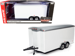 Four Wheel Enclosed Car Trailer White with Silver Top for 1/18 Scale Model Cars by Autoworld