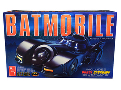 "Skill 2 Model Kit Batmobile ""Batman"" (1989) Movie with Backdrop Display 1/25 Scale Model by AMT"
