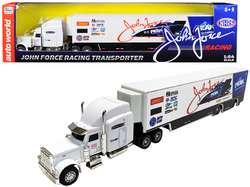 """2019 Freightliner """"John Force Racing"""" Transporter 1/64 Diecast Model by Autoworld"""