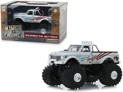 "1970 Chevrolet K-10 Monster Truck USA-1 (Legacy) White with 66-Inch Tires ""Kings of Crunch"" 1/43 Diecast Model Car by Greenlight"