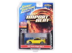 """2001 Acura Integra Type R Yellow """"Import Heat"""" Limited Edition to 2400 pieces Worldwide 1/64 Diecast Model Car by Johnny Lightning"""