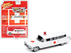"1959 Cadillac Ambulance White ""Special Edition"" Limited Edition to 3600 pieces Worldwide 1/64 Diecast Model Car by Johnny Lightning"