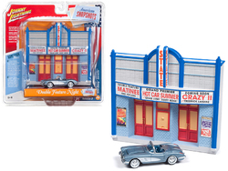 """1958 Chevrolet Corvette Convertible Blue and Resin Movie Theater Facade """"Double Feature Night"""" 1/64 Diecast Model by Johnny Lightning"""