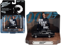 """1987 Aston Martin V8 Cumberland Gray with Collectible Tin Display """"007"""" (James Bond) """"No Time to Die"""" (2021) Movie (25th in the James Bond Series) 1/64 Diecast Model Car by Johnny Lightni"""