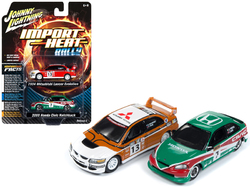 """2004 Mitsubishi Evolution Rally #13 """"Ralliart"""" and 2000 Honda Civic Rally #7 """"Lonestar"""" Set of 2 pieces 1/64 Diecast Model Cars by Johnny Lightning"""