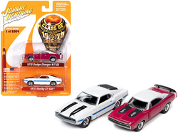 """1970 Dodge Charger R/T SE Panther Pink and 1970 Ford Mustang Shelby GT500 White Set of 2 pieces """"Class of 1970"""" Limited Edition to 2304 pieces Worldwide 1/64 Diecast Model Cars by Johnny Li"""
