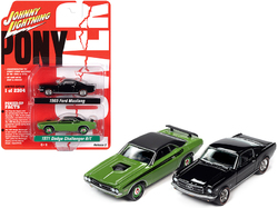 """1971 Dodge Challenger R/T Green and 1965 Ford Mustang Fastback Black Set of 2 pieces """"Pony Power"""" Limited Edition to 2304 pieces Worldwide 1/64 Diecast Model Cars by Johnny Lightning"""
