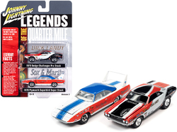 """1970 Dodge Challenger """"Dick Landy"""" and 1970 Plymouth Superbird """"Sox & Martin"""" """"Legends of the Quarter Mile"""" Set of 2 Cars 1/64 Diecast Model Cars by Johnny Lightning"""