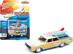 """1964 Oldsmobile Vista Cruiser White and Seafoam Green with Wood Paneling and Two Surfboards """"Surf Rods"""" Limited Edition to 4180 pieces Worldwide 1/64 Diecast Model Car by Johnny Lightning"""