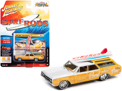 """1964 Oldsmobile Vista Cruiser White and Pearl Yellow with Wood Paneling and Two Surfboards """"Surf Rods"""" Limited Edition to 4156 pieces Worldwide 1/64 Diecast Model Car by Johnny Lightning"""