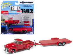 "1950 Chevrolet Pickup Truck Gloss Red with Open Car Trailer Limited Edition to 6,016 pieces Worldwide ""Truck and Trailer"" Series 2 ""Chevrolet Trucks 100th Anniversary"" 1/64 Diecast Model Car by Johnny Lightning"