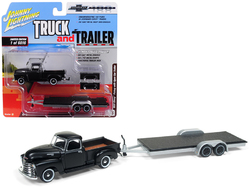 "1950 Chevrolet Pickup Truck Matte Black with Open Car Trailer Limited Edition to 6,016 pieces Worldwide ""Truck and Trailer"" Series 2 ""Chevrolet Trucks 100th Anniversary"" 1/64 Diecast Model Car by Johnny Lightning"