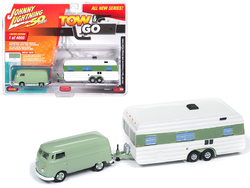 "1965 Volkswagen Type 2 Transporter Birch Green with Vintage House Trailer Limited Edition to 4,000 pieces Worldwide ""Tow & Go"" Series 1 1/64 Diecast Model Car by Johnny Lightning"