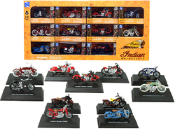 """Indian Motorcycle"" Set of 11 pieces 1/32 Diecast Motorcycle Models by New Ray"