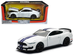 2016 Ford Shelby Mustang GT350R White with Blue Stripes 1/24 Diecast Model Car by New Ray