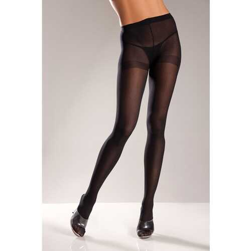 (D) OPAQUE NYLON PANTYHOSE BLACK QUEEN