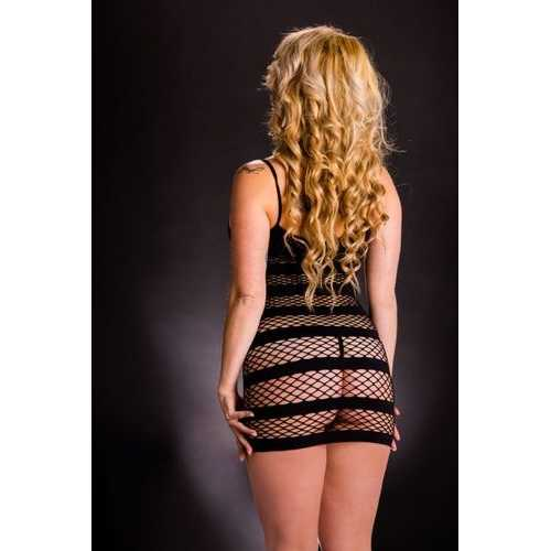 NAUGHTY GIRL BLACK TANK DRESS W/ HORIZONTAL STRIPES O/S (NET