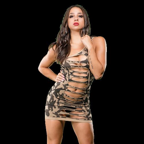 NAUGHTY GIRL CAMO DRESS ONE SHOULDER O/S (NET)