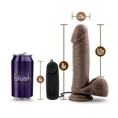 X5 PLUS 8IN GYRATING VIBRATING COCK CHOCOLATE