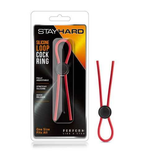 STAY HARD SILICONE LOOP COCK RING RED