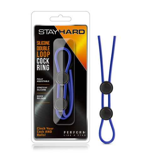 STAY HARD SILICONE DOUBLE LOOP COCK RING BLUE