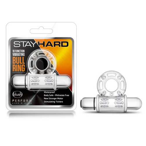 STAY HARD 10 FUNCTION BULL RING VIBRATING CLEAR
