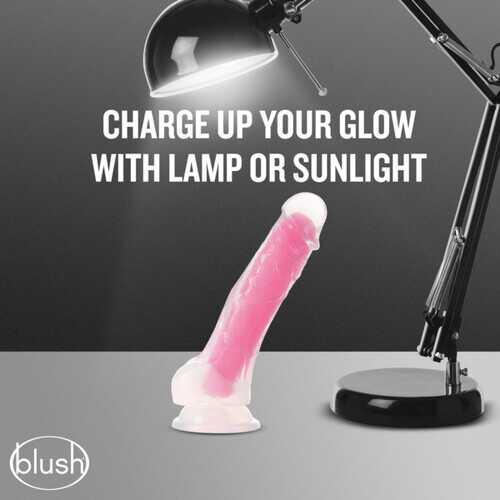 NEO ELITE GLOW IN THE DARK 7.5 IN SILICONE COCK W/ BALLS NEON PINK