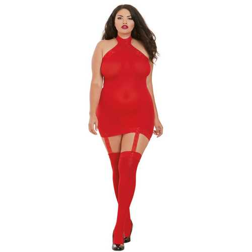SHEER GARTER DRESS RED QUEEN