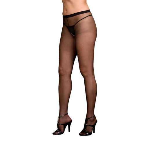 OPEN CROTCH PANTYHOSE BLACK O/S QUEEN