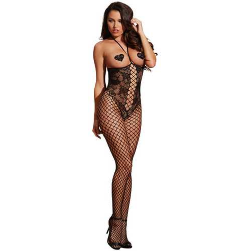 OPEN CUP BODYSTOCKING BLACK O/S