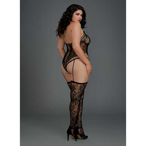 LACE TEDDY BODYSTOCKING BLACK QUEEN
