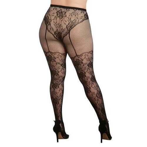 KNITTED HIGH-WAISTED LACE PANTYHOSE BLACK QUEEN
