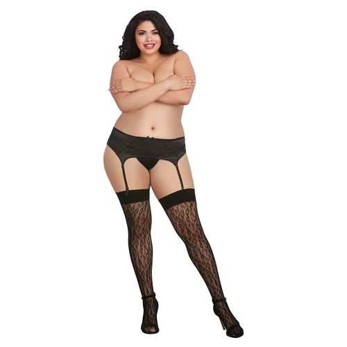 LEOPARD FISHNET THIGH HIGH DMD BLACK QUEEN O/S