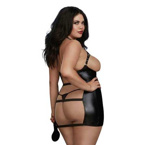 CHEMISE & PADDLE DMD BLACK QUEEN O/S