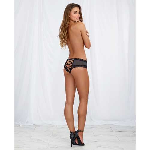 LACE UP BACK CHEEKY PANTY SLATE/BLACK LARGE