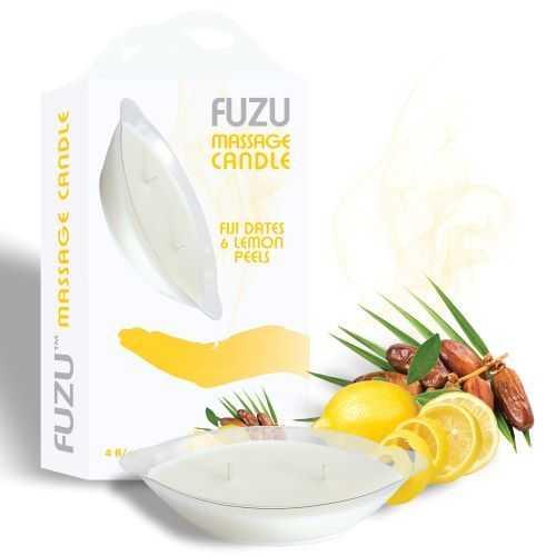 FUZU MASSAGE CANDLE FIJI DATES & LEMON PEEL 4 OZ