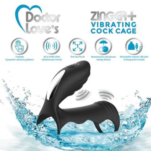 DOCTOR LOVE ZINGER+ VIBRATING RECHARGEABLE COCK CAGE BLACK