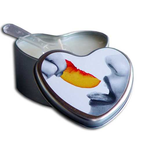 CANDLE 3-IN-1 HEART EDIBLE PEACH 4.7 OZ