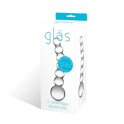 "GLAS 5 CURVED GLASS BEADED DILDO """