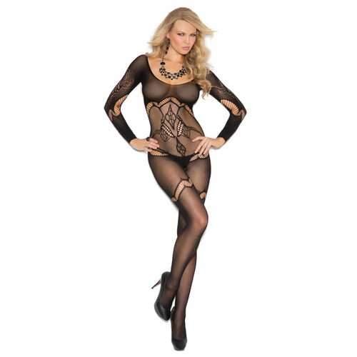 FLORAL CROCHET BODYSTOCKING BLACK O/S