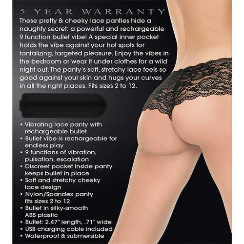 ADAM & EVE CHEEKY PANTY W/ RECHARGEABLE BULLET