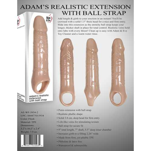 ADAM & EVE ADAMS REALISTIC EXTENSION W/ BALL STRAP