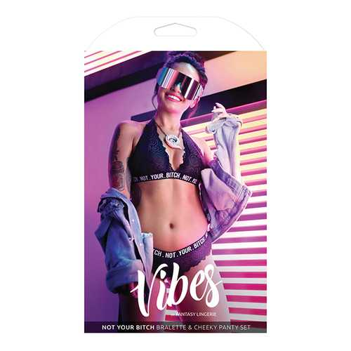 VIBES NOT YOUR BITCH LACE BRALETTE & PANTY SET LARGE/XL